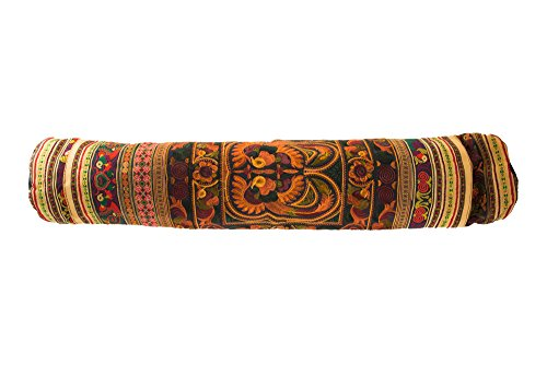 Handmade Fabric Gold-Brown Yoga Mat Flower Bag ccessory Carrier Gym Tribal Art Thai Craft