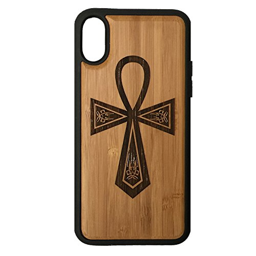 (Egyptian Ankh Case for iPhone Xs & iPhone X by iMakeTheCase Eco-Friendly Bamboo Wood Cover + TPU Wrapped Edges Key of Life Hieroglyph Spiritual Symbols Eternal Twin Flame)