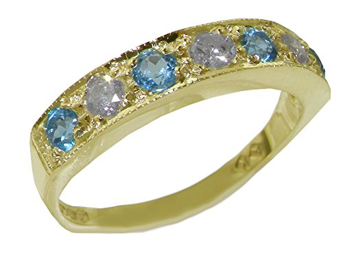 LetsBuyGold Solid 10k .417 Yellow Gold Natural Diamond and Blue Topaz Band Ring (0.16 cttw, H-I Color, I2-I3 -