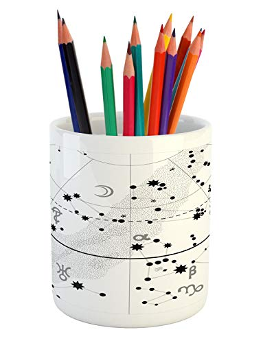 Lunarable Orion Pencil Pen Holder, Astronomical Celestial Atlas with Famous Constellations and, Printed Ceramic Pencil Pen Holder for Desk Office Accessory, White Grey and Charcoal -