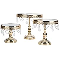 ART4005 cake stand gold colour on top glass with beautiful crystal on all sides 3pcs in one set small,medium and large