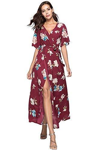 Escalier Women's Summer Floral Print Faux Wrap Maxi Long Dresses with Belt