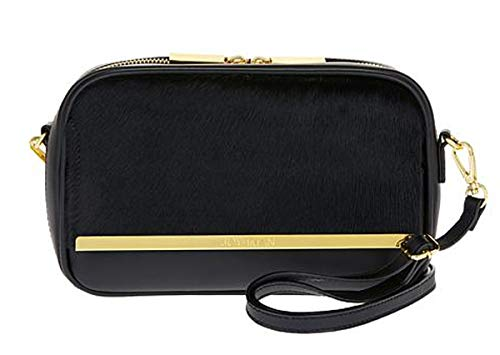 JOY & IMAN Luxe Leather & Calf Hair Crossbody Bag with RFID ~ Black