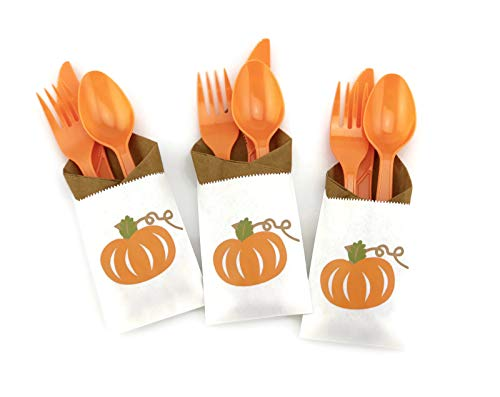 Orange Pumpkin Party Cutlery - 24 Set for Fall Birthday or Baby Shower Supplies]()