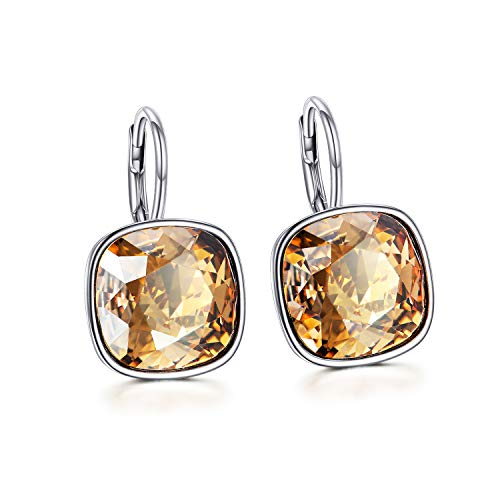 AOBOCO 925 Sterling Silver Simulated Citrine Leverback Earrings with Golden Shadow Swarovski Crystals,Cushion Cut Pierced Earrings Jewelry Gifts for Women Girls