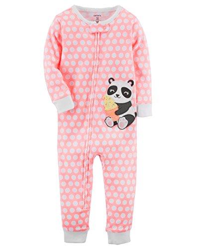 Carter's Little Girls' 1-Piece Snug Fit Cotton Footless Pajamas (3T, Panda) - Carters 1 Piece Cotton