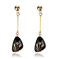 Time Pawnshop Stylish Stainless Steel Lady Dangle Earrings