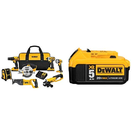 (DEWALT DCK720D2 2 Ah 20V MAX Compact 7-Tool Combo Kit with DCB205 20V MAX XR 5.0Ah Lithium Ion Battery-Pack)
