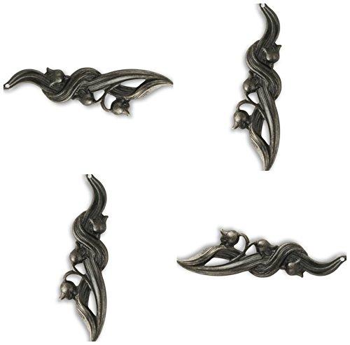 Four (4) Vintaj Lily of The Valley Drop Pendant. Black Arte Metal AP0007-55x14mm Jewelry, Scrapbook