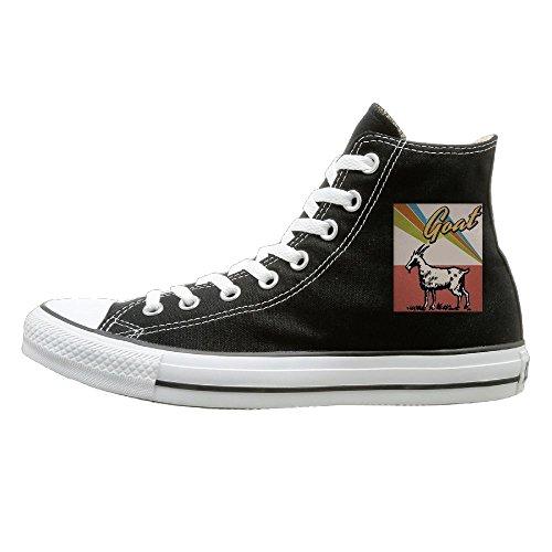 Shenigon Vintage Goat Canvas Shoes High Top Sport Black Sneakers Unisex Style 44 ()