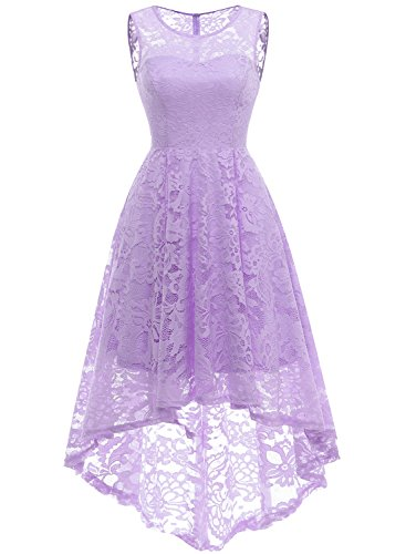 MUADRESS 6006 Women's Vintage Floral Lace Sleeveless Hi-Lo Cocktail Formal Swing Dress Lavender XS