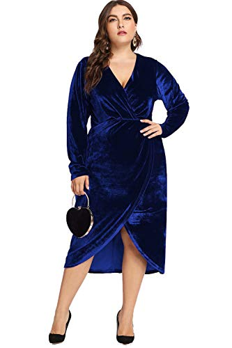 ESPRLIA Women's Plus Size High Waist Velvet Sexy Faux Wrap Pencil Cocktail Midi Dresses (Blue, 22W)