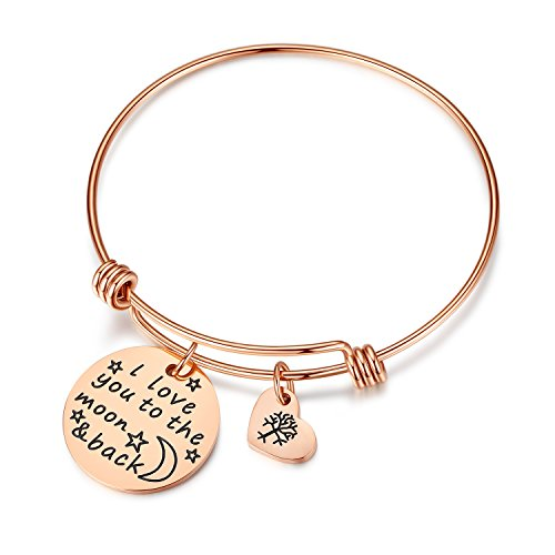 Studiocc Women Girls Jewelry I Love You to The Moon and Back Bracelet with Heart Tree of Life, Anniversary for Wife, Girlfriend, Sister, Mom, Mother, (Moon Back-Rose Gold)