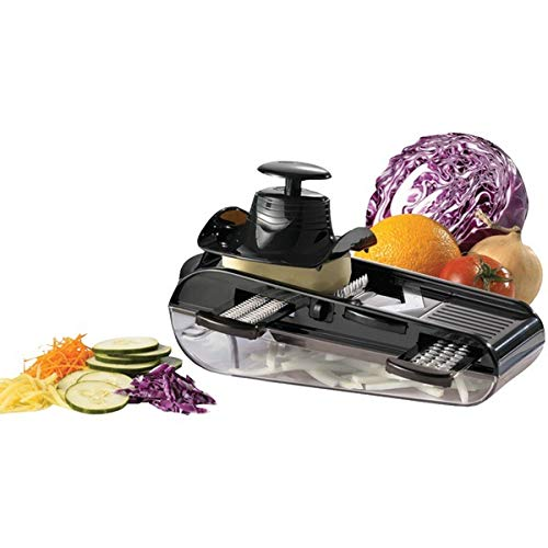 Starfrit 093087 4-Blades Easy Mandoline Slicer with Container, Green/White.