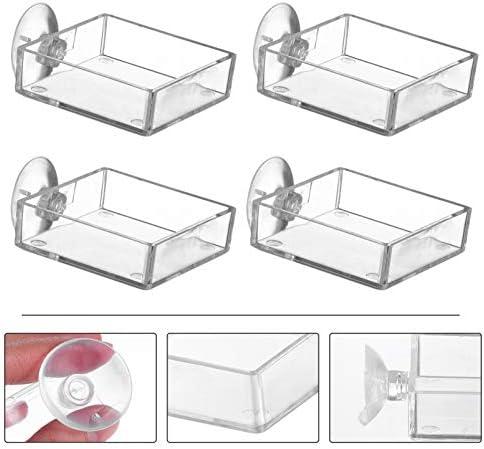 Acuario Plato Alimentador de Camarones Tanque de Peces de Vidrio Cuencos de Alimentación  Bandeja Reptiles Flotantes 7