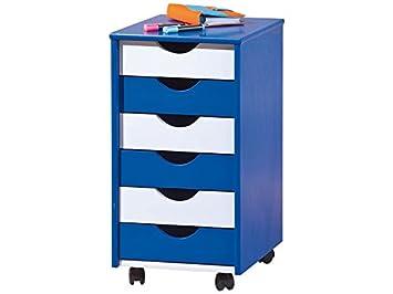 Link 40100660 ABC Beppo - Cajonera con Ruedas, Color Azul y Blanco