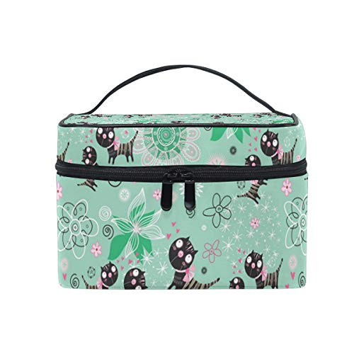 Makeup Bag Fun Loving Cats Green Cosmetic Case Portable Carry Travel Toiletry Bag Toiletry Bags for Womens Storage Bag]()