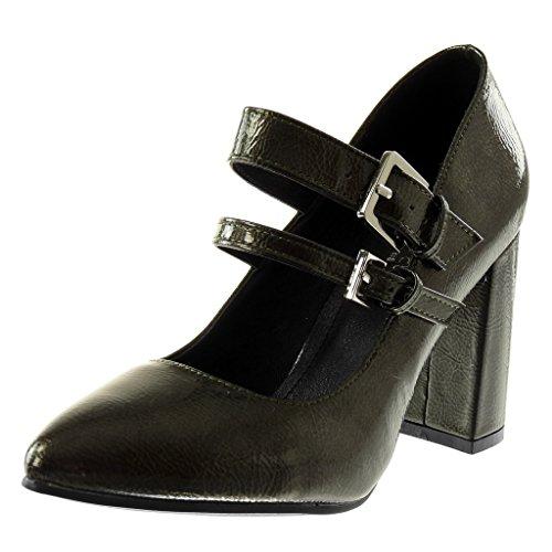 Angkorly Damen Schuhe Pumpe - Dekollete - Patent - Multi-Zaum - genarbtem Blockabsatz High Heel 9 cm Grau