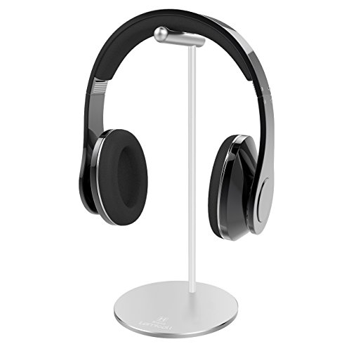 Headphone Stand, Lamicall Headset Holder : Headset Holder, Earphone Stand with Aluminum Cylindrical Supporting Bar and Round Solid Base for All Headphones Size - Silver (Double Cradle)