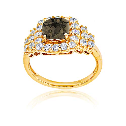 (Sterling Silver Yellow 7mm Cushion Smokey Quartz & Round Created White Sapphire Ring)