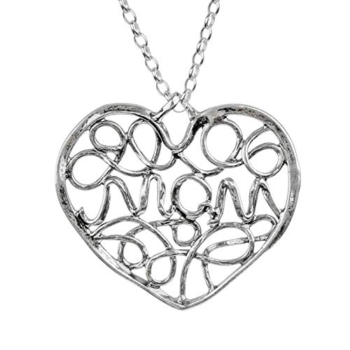 PZ Paz Creations 925 Sterling Silver Filigree MOM Heart Pendant Necklace
