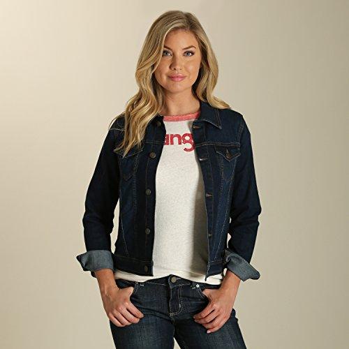 Wrangler Women's Western Fashion Jacket, Dark Wash, Medium Denim Barn Coat