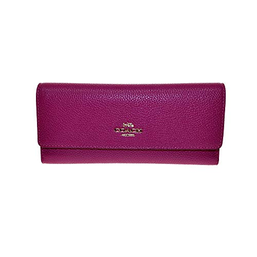 Coach Soft Pebble Tri- Fold Wallet Clutch Dusty Pink 39745