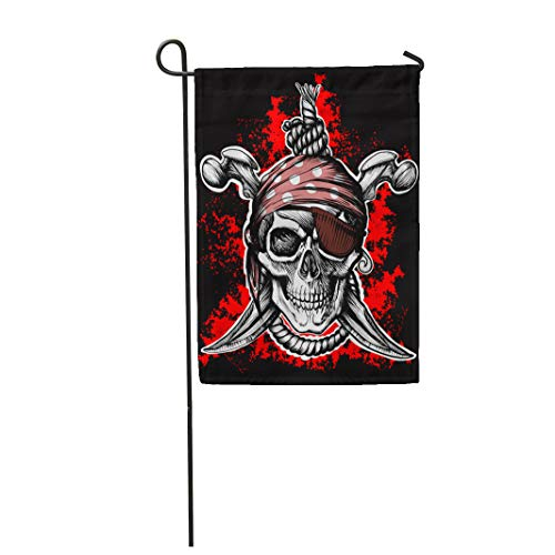 Semtomn Garden Flag Jolly Roger Pirate Symbol Crossed Daggers and Rope Black 12