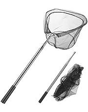 Homealexa Schepnet vissen, telescoopschepnet 180 cm, ondervangschepnet met opvouwbaar visnet, hengelaccessoire voor volwassenen en kinderen (driehoek)