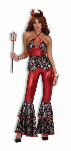 Forum Novelties Women's 70's Disco Fever Devil Diva Costume, Red/Black, Medium/Large