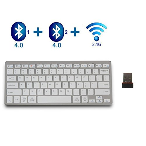 Bluetooth Keyboard,bluebyte 2.4G And Bluetooth 2-in-1 Wireless Keyboard,Fast Connect and BLE Multi-device Keyboard for iPhone ,iPad Air , iPad Pro, iPad mini, Macbook,Galaxy Tabs ,Windows PC (Dongle Galaxy Tab 4)