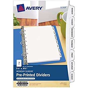 avery mini preprinted dividers 55 x 85 inches monday sunday 7 tab set 11319