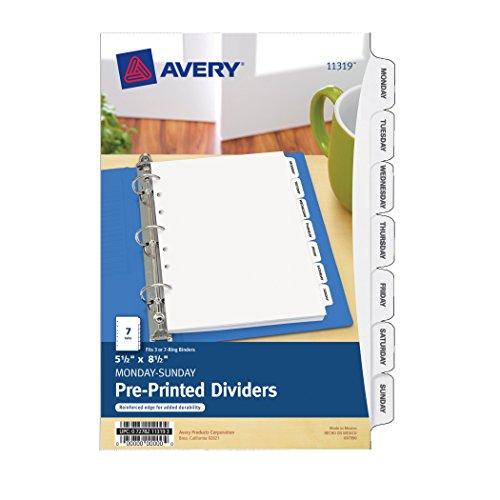 Avery Mini Preprinted Dividers, 5.5 x 8.5 Inches, Monday-Sunday, 7-Tab Set (11319)