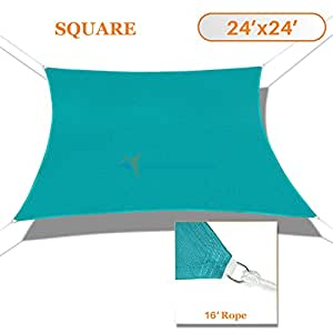 Sunshades Depot 24' x 24' Solid Turquoise Green Sun Shade Sail, Rectangle Permeable Canopy CustomSize Available Commercial Standard 180 GSM HDPE