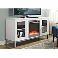 WE Furniture 52' Avenue Wood Fireplace TV Console with Metal Legs - White