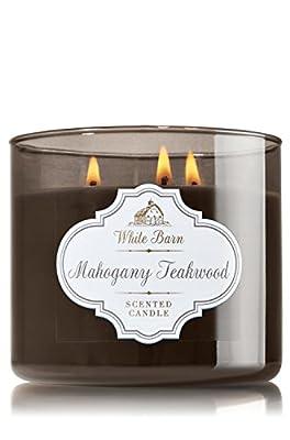 1 X Bath & Body Works Mahogany Teakwood Scented Candle 14.5 Oz - 3 Wick