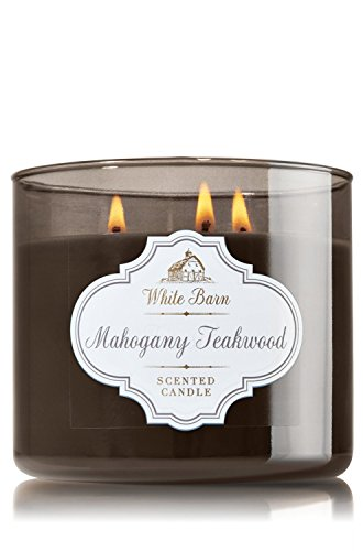 1 X Bath & Body Works White Barn Mahogany Teakwood Scented 3 Wick Candle 14.5 oz./411 g (Mahogany Scented Candle)