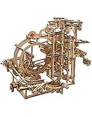 UGEARS Houten marmeren Run Kit - 3D Puzzel Hout Marmer Run Traptakel met 3-staps Lift Mechanisme en 10 ks - Kinetische DIY Marmer Run Houten Puzzel - 3D Houten Puzzels voor Volwassenen en Kinderen