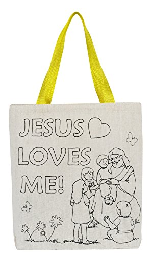 Color Your Own Tote Bag - Jesus Loves Me- 12pk by AT001
