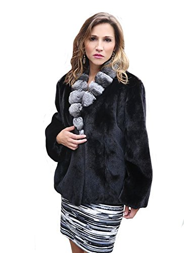 Sheared Mink Fur Jacket with Chinchilla Fur Collar(Black,S)