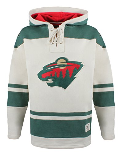 (Old Time Hockey NHL Minnesota Wild Men's Alternate Lacer Heavyweight Hoodie, Large, Stone )