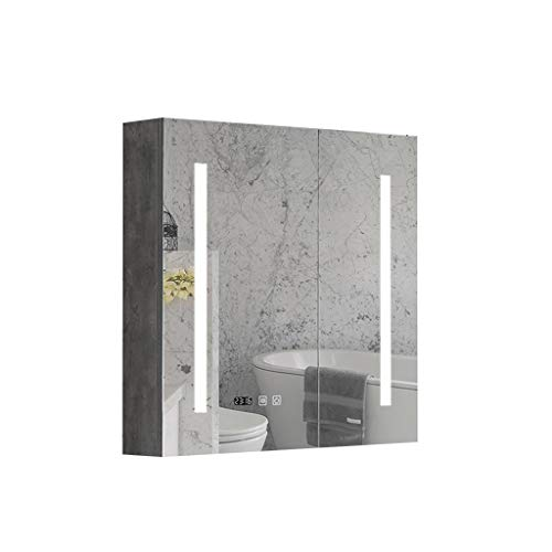 Bathroom Mirrors Illuminated LED Bathroom Mirror Cabinet Solid Wood Frame Wall Mounted - Color Mirrors Frame Cabinets Than Bathroom Different
