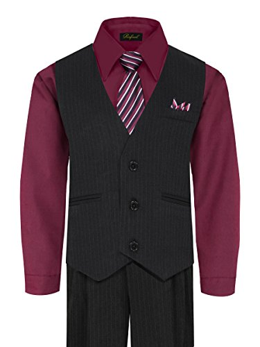 Boy's Vest and Pant Set, Includes Shirt, Tie and Hanky - Black/Burgundy, 7