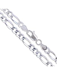 Sterling Silver Diamond-Cut Figaro Link Chain 4.5mm Solid 925 Italy Necklace
