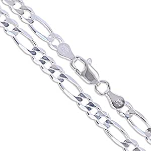 """Sterling Silver Diamond-Cut Figaro Link Chain 4.5mm Solid 925 Italy Necklace 16"""""""