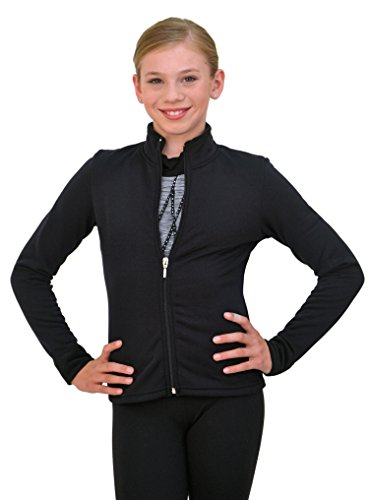Chloe Noel Figure Skating Solid Polar Fleece Fitted Jacket by Polartec J11 Black Child Extra Extra Small