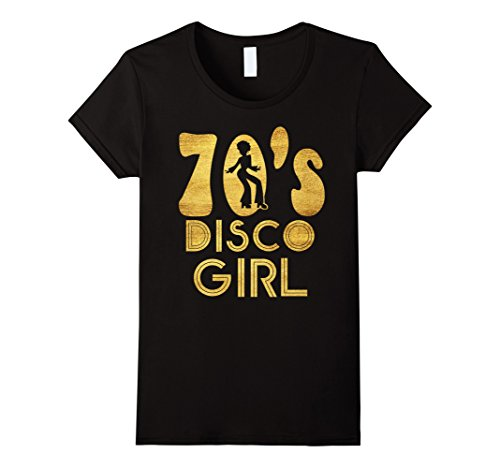 Womens 70's Disco Girl T-Shirt - Seventies Halloween Tee XL Black