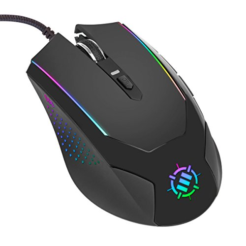 ENHANCE Computer PC Gaming Mouse Adjustable 3500 DPI LED Lighting, Accuracy Tracking Optical Sensor, Ergonomic 6 Button Design, Braided Cable, Color Changing, Slim Profile ()