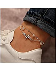 Edary Beach Pearl Anklet Bracelet Silver Layered Anklets ECG Foot Chain Jewelry Accessories for Women and Girls(1PCS)