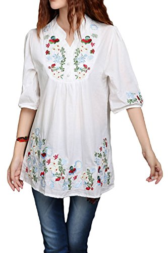 Asher Embroidered Peasant Dressy Tops 3/4 Sleeve Mexican Blouse (One Size, White)